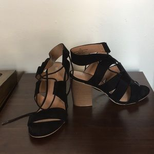 Merona Block Strappy Heels in Black